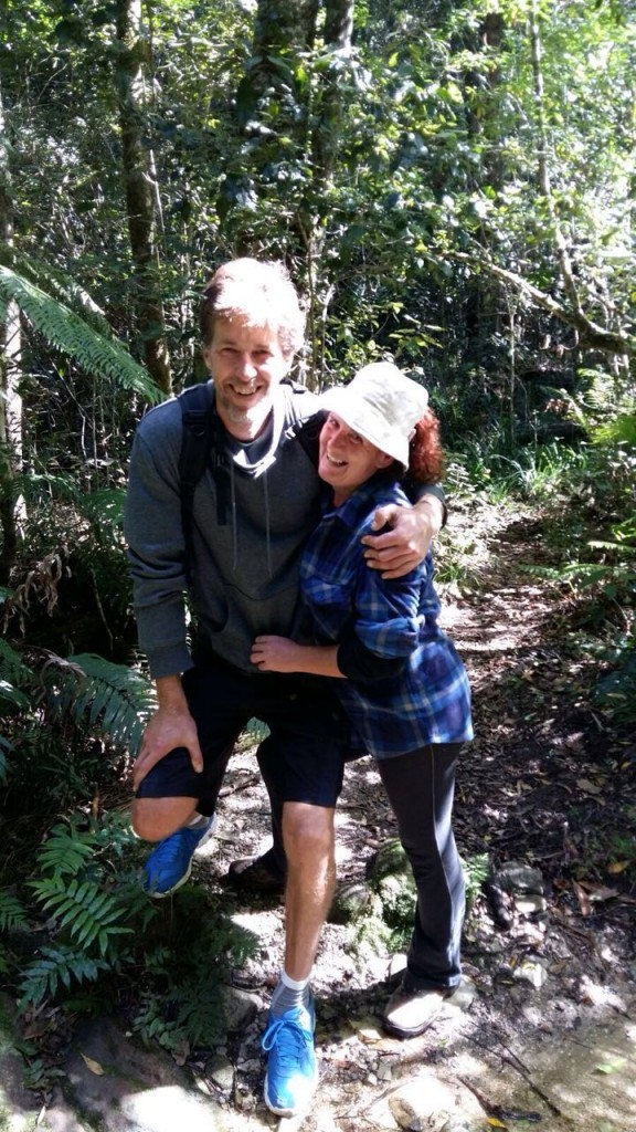 Ant and Fi Paton, owners of Tree Spirit Cottages, two excellent cottages for rent, solar powered, eco catering, Gouna Forest, Knysna - hiking, biking, trail
